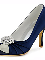 Women's Shoes Stretch Satin Spring / Peep Toe Sandals Wedding / Party & Evening / Dress Stiletto Heel CrystalBlue /