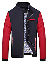 Men's Long Sleeve Casual / Work / Formal / Sport / Plus Sizes Jacket,Polyester Patchwork