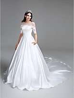 Lanting Bride® Ball Gown Wedding Dress Chapel Train Bateau Satin with Appliques / Ruche / Sequin