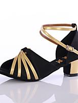 Chaussures de danse(Noir / Or) -Personnalisables-Talon Personnalisé-Satin / Similicuir-Latine