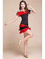 Latin Dance Outfits Women's Performance Elastic Silk-like Satin Tassel(s) 2 Pieces Black / Red Latin Dance Short Sleeve