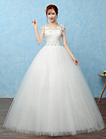 Ball Gown Wedding Dress Floor-length V-neck Lace / Satin / Tulle with Beading / Lace