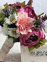 Bouquets de Noiva Forma-Livre Rosas / Peônias Buquês Casamento Multi-Côr Cetim 10.24