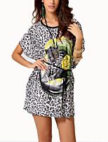 De las mujeres Vintage Casual/Diario Verano Camiseta,Escote Redondo Leopardo Manga Corta Algodón Gris Fino