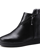 Women's Shoes PU Fall Riding Boots / Bootie / Round Toe Boots Outdoor / Casual Flat Heel  / Zipper Black