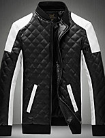 Men's Long Sleeve Casual / Plus Sizes Jacket,PU Patchwork Black / White