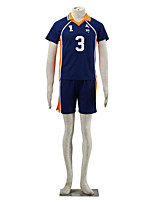 Inspired by Haikyuu Tanaka Ryunosuke Anime Cosplay Costumes Cosplay Suits Color Block Blue / Orange Short Sleeve T-shirt / Shorts