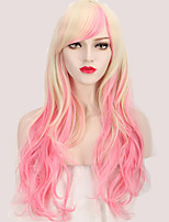 Sexy Fashion Cosplay Party Wig Charming Pink Mix Blonde Beautiful Long 28 Inch Wave Wig for Europe and American Women