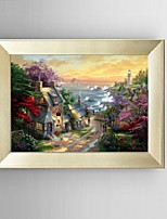 HD Print Painting Seaside Town Sunrise Scenery with Stretched Delicate Framed
