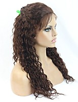 100% Virgin Human Hair Lace Wig 18inch Medium Brown Deep Curly Wig for Black Women