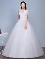 A-라인 웨딩 드레스 바닥 길이 스윗하트 레이스 / 튤 와 레이스