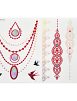 1pc Flash Metallic Waterproof Tattoo Red Gold Silver Swallow Necklace Lace Temporary Tattoo RYH-005