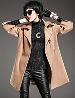 Women's Casual/Daily Simple Coat,Solid Shirt Collar ¾ Sleeve Winter Brown Polyester Medium