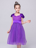 Girl's Party/Cocktail Solid Dress,Polyester Summer Purple