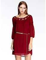 Women's Going out Simple Loose Dress,Jacquard Round Neck Above Knee ¾ Sleeve Red Polyester Summer