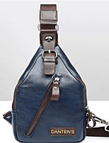 Men-Casual-PU-Shoulder Bag-Blue / Black
