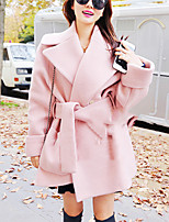 Women's Casual/Daily Simple Coat,Solid Shirt Collar Long Sleeve Winter Pink / Gray Wool Thick