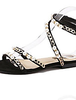 Women's Shoes PU Summer Open Toe / Flats Sandals Outdoor / Office & Career Flat Heel Others Black / Pink