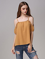 Women's Solid White / Yellow Blouse,Strap Short Sleeve