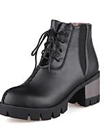 Mujer-Tacón Robusto-Cuñas / Plataforma / Botas a la Moda-Botas-Exterior / Oficina y Trabajo / Casual-Semicuero-Negro / Marrón / Rojo /