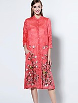 Boutique S Women's Going out Sophisticated Loose Dress,Embroidered Stand Midi ¾ Sleeve Red Linen / Rayon Spring / Summer