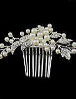 Dame Rhinestone / Krystall / Legering / Imitert Perle Headpiece-Bryllup / Spesiell Leilighet Hårkammer 1 Deler Sølv Rund 9