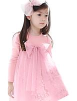 2016 Children Girls Summer Pink/Brown Dress Mesh Kids Dresses for Girls Clothes High Waist Girls Lace Dress for 2~7Years