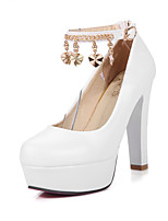 Women's Summer / Fall Heels / Round Toe PU Office & Career / Casual Chunky Heel Buckle / Chain Blue / Pink / White