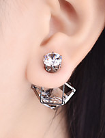 Earring Geometric Stud Earrings Jewelry Women Fashion Daily / Casual Alloy / Rhinestone 1 pair Gold / Black / Silver