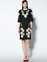 Boutique S Women's Going out Chinoiserie Sheath Dress,Embroidered Round Neck Knee-length ¾ Sleeve Red / Black