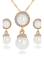 Popula Eyes of Angels Opal Water Droplets Pendant Earrings + White Gemstone Earrings Jewelry Sets