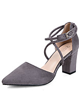 Women's Shoes Suede Fall Heels / Pointed Toe / Clogs & Mules Dress Chunky Heel Others Black / Pink / Red / Gray
