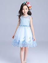 A-line Knee-length Flower Girl Dress-Cotton / Organza / Satin / Sequined Sleeveless