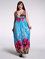 Women's Holiday / Plus Size Boho Dress,Floral Deep V Maxi Sleeveless Blue Polyester / Spandex Summer