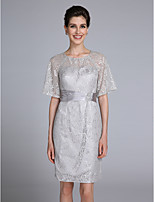 Lanting Bride Trumpet / Mermaid Mother of the Bride Dress Knee-length Half Sleeve Lace with Crystal Detailing