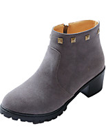 Women's Shoes Winter Fashion Boots / Round Toe Boots Dress / Casual Chunky Heel Rivet / Zipper Black / Yellow / Gray