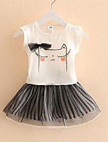 Children Kitty Suit Girls Clothing New Female Short-Sleeved Dress Two-Piece