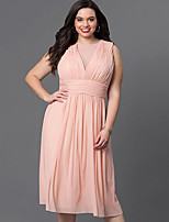 Women's Going out / Plus Size Street chic Sheath Dress,Solid Round Neck Knee-length Sleeveless Pink / Black Polyester Summer