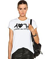Tee-shirt Aux femmes,Imprimé Sortie simple / Chic de Rue Eté Manches Courtes Col Arrondi Blanc Polyester Moyen
