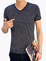 Men's Fashion Personality Striped V Neck Casual Slim Fit Short-Sleeve T-Shirt;Casual/Striped /Plus Size