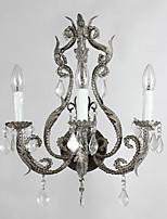 lampe murale 3 têtes rustique créatif cristal palais pour hôtel / salle de café / bar décorer murale
