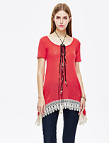 Women's Casual/Daily Simple Summer T-shirt,Patchwork Round Neck Short Sleeve Red Polyester / Spandex Thin