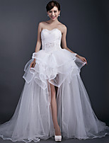 Ball Gown Wedding Dress Asymmetrical Sweetheart Tulle with Beading / Side-Draped