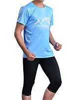 Sports Bike/Cycling Jersey + Shorts / Tops / Bottoms Men's Short Sleeve Breathable / Sweat-wicking Elastane Sport Sky BlueS / M / L / XL