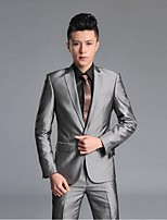 Suits Slim Fit Notch Single Breasted One-button Polyester/Rayon Solid 2 Pieces Black / Gray Straight Flapped