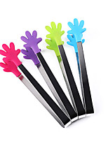 1Pcs Silicone Palm Style Tongs Baking Cooking Food Serving Utensil Ice Tongs (Random Color)