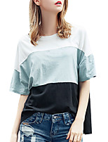 Women's Summer Daily/Casual/Plus Sizes Round Neck Short Sleeve Side Slits Hit Color Loose T-shirt Blouse Tops