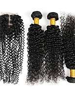 4 Pièces Kinky Curly Tissages de cheveux humains Cheveux Péruviens Tissages de cheveux humains Kinky Curly