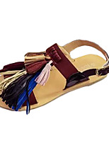 Women's Slippers & Flip-Flops Summer Slippers PU Casual Flat Heel Tassel Black / Brown Others