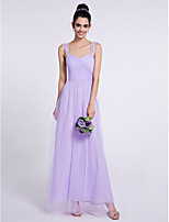 Lanting Bride Ankle-length Tulle Bridesmaid Dress Sheath / Column Sweetheart with Criss Cross